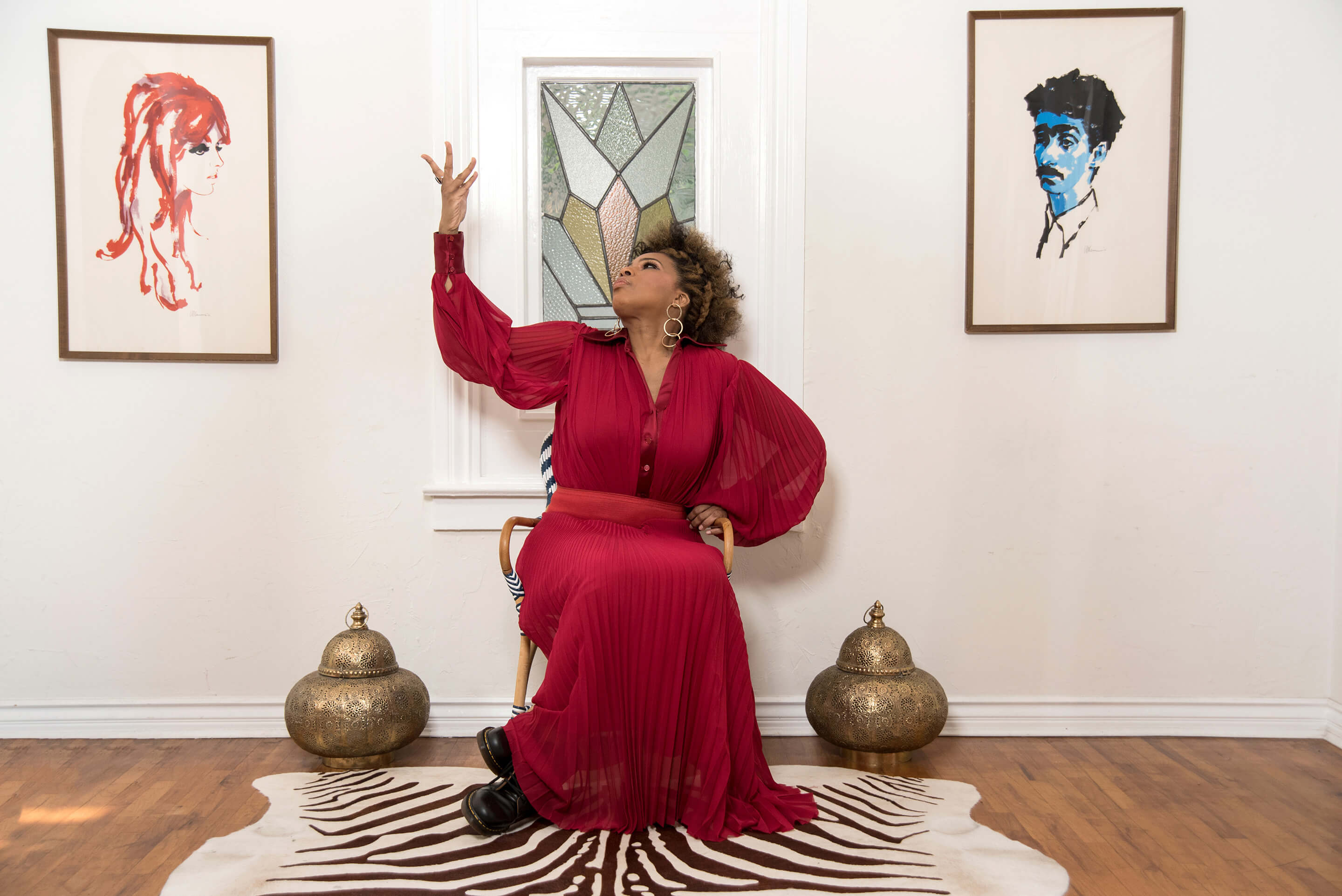 Macy Gray strikes a pose in a West Hollywood loft...